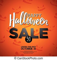 Halloween Sale vector illustration with Holiday elements on orange background. Design for offer, coupon, banner, voucher or promotional poster