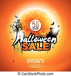 Halloween Sale vector illustration with moon, cemetery and bats on orange sky background. Design for offer, coupon, banner, voucher or promotional poster