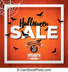 Halloween Sale vector illustration with spider and Holiday elements on wood texture background. Design for offer, coupon, banner, voucher or promotional poster