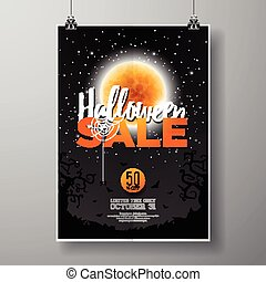 Halloween Sale vector poster template illustration with moon and bats on black sky background. Design for offer, coupon, banner, voucher or promotional poster