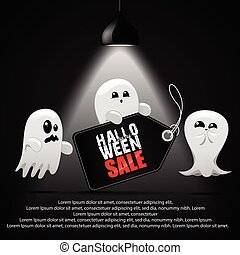 Halloween sale with ghost child