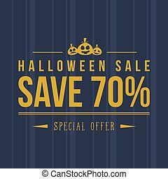Halloween sale with pumpkin background