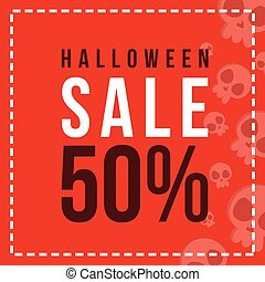Halloween sale with red background