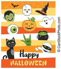 halloween., salutation, heureux, mignon, design., dessin animé, coloré, characters., plat, carte