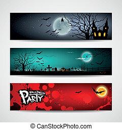 halloween, satz, banner, tag, glücklich