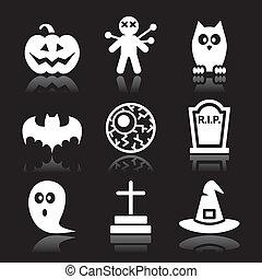 halloween, satz, schwarz, heiligenbilder