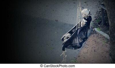 Skeleton On Swing - Halloween Scare Video - Skeleton On...