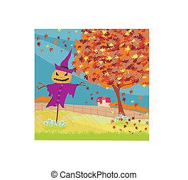 Halloween scarecrow, Autumn rural landscape