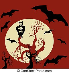 Halloween scary background. Vector
