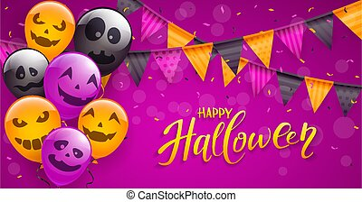 Halloween Scary Balloons and Confetti on Purple Background