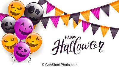 Halloween Scary Balloons and Pennants on White Background