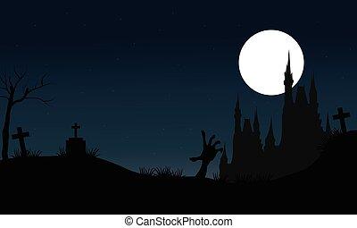Halloween scary castle silhouette