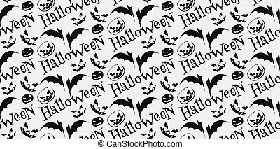 Halloween scary faces seamless background
