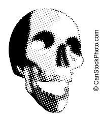 Halloween Scary Halftone Skull