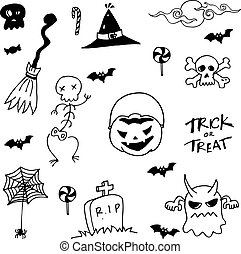Halloween scary in doodle set