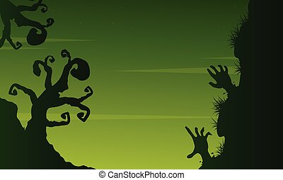Halloween scary landscape on green background
