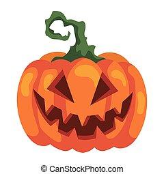 halloween scary pumpkin icon, on white background