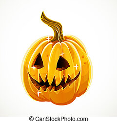 Halloween scary pumpkin isolated on white background