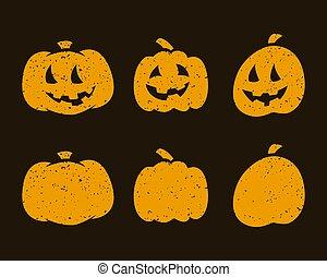 Halloween scary pumpkins on dark background. Vector illustration