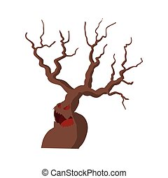 Halloween scary tree icon, cartoon style