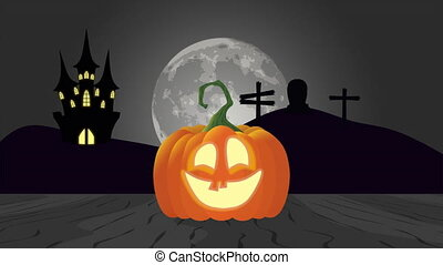 halloween scene in a cemetery with tomb and pumpkin , ...