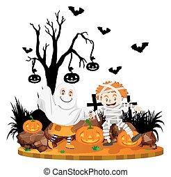 Halloween scene with kids in costume