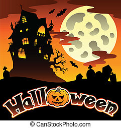Halloween scenery with sign 1