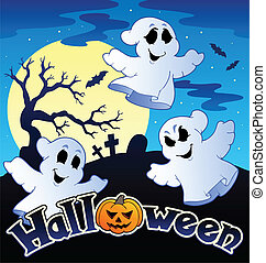 Halloween scenery with sign 2 - vector illustration.