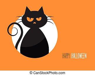 halloween, scheda, con, uno, silhouette, di, un, male, gatto, in, il, fondo, luna
