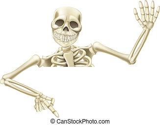 halloween, scheletro, indicare