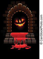halloween, schrecklich, tür, blutig, eingang, und, glühen, gesicht