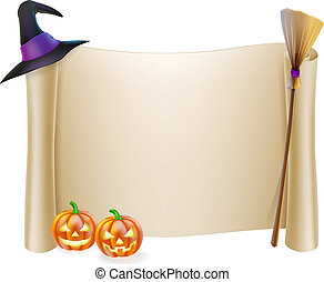 Halloween background scroll sign with witch hat, broomstick and carved orange pumpkins