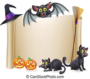 A Halloween scroll sign with a bat character above the banner and pumpkins, witch's cats, hat and broomstick