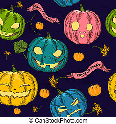 Halloween seamless background with pumpkin.
