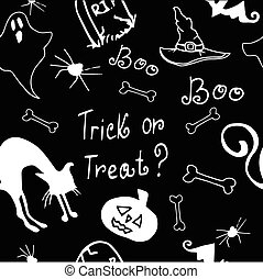 Halloween seamless pattern black and white with pumpkin,...