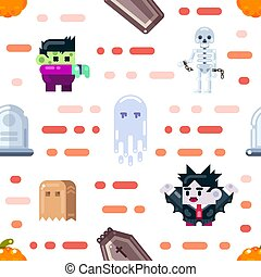 Halloween seamless pattern design with ghosts, zombie, dracula, coffin, skeleton. Flat illustration.