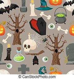 Halloween seamless pattern. Vector illustration