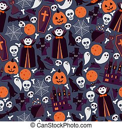 Halloween seamless pattern, vector illustration. Wrapping paper print design with traditional symbols of halloween vampire Dracula, skull, spider web, pumpkin and ghost