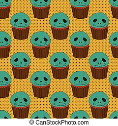 Halloween seamless pattern with cake