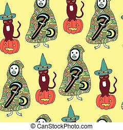 Halloween seamless pattern with cat, pumpkin, death, reaper