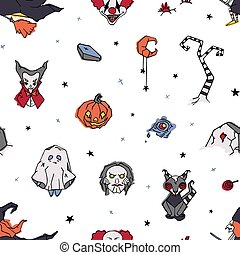 Halloween seamless pattern with creepy and spooky characters hand drawn on white background - ghost, clown, vampire, witch, Jack-o'-lantern. Vector illustration in doodle style for wrapping paper.