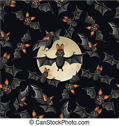 Halloween seamless pattern with cute cartoon bats