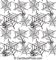 Halloween seamless pattern with hand drawn spiders on web in...
