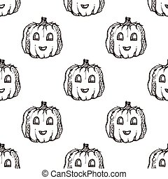 Halloween seamless pattern with handdrawn pumpkins
