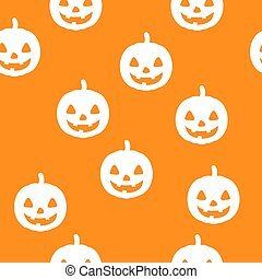 Halloween seamless pattern with happy pumpkin icon. Holiday october vector illustration