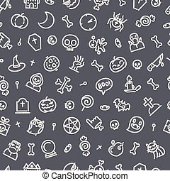Halloween Seamless Pattern With Icons Dark