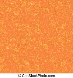Halloween seamless pattern with spiders, witch cauldron, bat, ghost, pumpkin, leaves and bubbles on orange background. Decoration for greeting card, poster, banner, flyer design. Vector illustration.