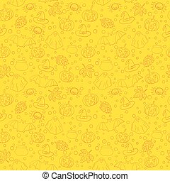Halloween seamless pattern with spiders, witch cauldron, bat, ghost, pumpkin, leaves and bubbles on yellow background. Decoration for greeting card, poster, banner, flyer design. Vector illustration.