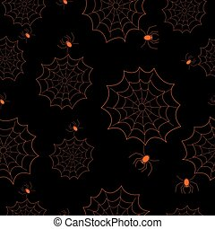 Halloween seamless pattern with web and spiders on black background