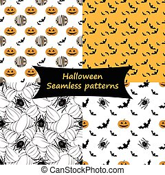 Halloween. Seamless patterns. Collection.